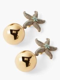 BEGUM KHAN Sea Star gold-plated clip earrings / glamorous evening jewellery / starfish