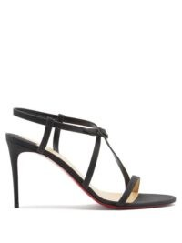 CHRISTIAN LOUBOUTIN Selima glittered-leather sandals in black ~ strappy event sandal ~ high heel evening shoes ~ stiletto heels