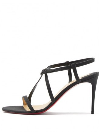 CHRISTIAN LOUBOUTIN Selima glittered-leather sandals in black ~ strappy event sandal ~ high heel evening shoes ~ stiletto heels - flipped