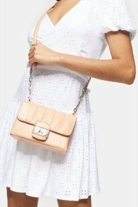 TOPSHOP SHELLY Apricot Trophy Cross Body Bag / gold chain strap flap bags
