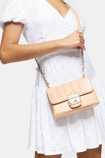 TOPSHOP SHELLY Apricot Trophy Cross Body Bag / gold chain strap flap bags - flipped