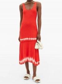 ALTUZARRA Shinobu ribbed-knit tiered pima-cotton midi dress in orange