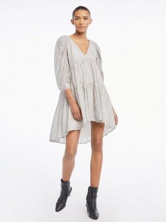 FRAME Shirred Empire Dress Blanc Multi   voluminous tiered dresses - flipped