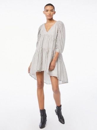 FRAME Shirred Empire Dress Blanc Multi   voluminous tiered dresses