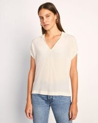 JIGSAW SILK FRONT COLLAR TOP CALICO / effortless style clothing / simple designs / casual luxe