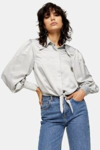Topshop Silver Collar Satin Knot Front Blouse | sleeves with volume | knotted blouses