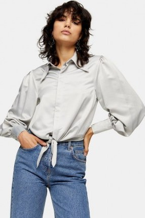 Topshop Silver Collar Satin Knot Front Blouse   sleeves with volume   knotted blouses - flipped