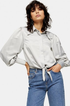 Topshop Silver Collar Satin Knot Front Blouse   sleeves with volume   knotted blouses