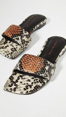 Kyle Richards snake print flats, Simon Miller Hammer Slides, on Instagram, 28 August 2020 | celebrity social media style | reality star footwear - flipped
