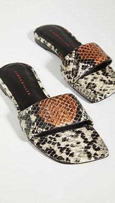 Kyle Richards snake print flats, Simon Miller Hammer Slides, on Instagram, 28 August 2020 | celebrity social media style | reality star footwear