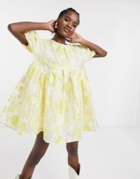Sister Jane mini smock dress with puff sleeves in metallic floral organza yellow