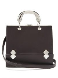 RODO Sixty Six small leather & metal box bag in black