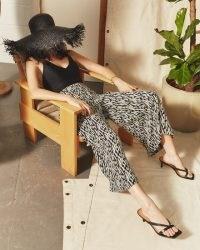 JIGSAW SKETCH GEO CULOTTE NAVY / wide crop leg trousers / printed pants