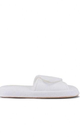 Skin Palm Beach Slide | white terry fabric velcro-strap slides - flipped