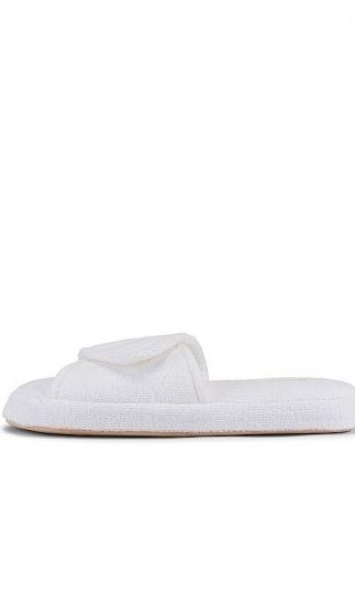 Skin Palm Beach Slide | white terry fabric velcro-strap slides