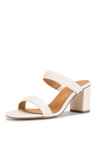 Soludos Ines Heel | white leather double strap block heels