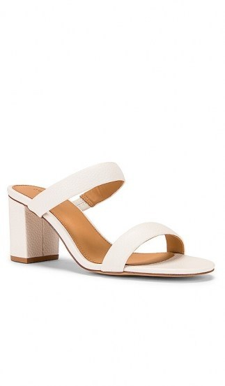 Soludos Ines Heel | white leather double strap block heels - flipped