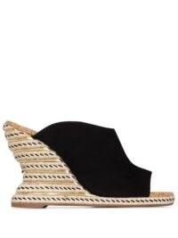 Sophia Webster Carlita 110mm suede espadrille mules / sculpted wedge heels / open toe wedge heel mule / black wedges