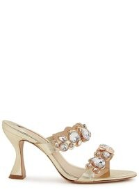SOPHIA WEBSTER Ritzy 85 crystal-embellished leather mules in gold ~ crystal covered two strap mule