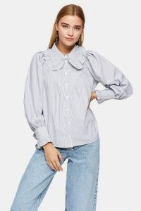 Star Collar Ruffle Blouse – frill trimmed blouses – large ruffled collars
