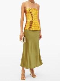 GALVAN Stargaze gold sequinned top / thin shoulder strap sequin tops
