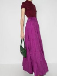 STAUD tiered maxi dress in fuchsia pink ~ open back dresses