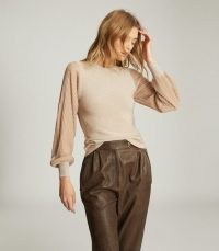 REISS STELLA METALLIC SEMI-SHEER SLEEVE TOP NEUTRAL / luxe style knits / feminine knitwear