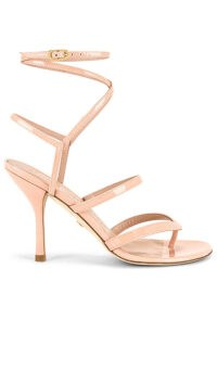 Stuart Weitzman Julina Stiletto Poudre ~ strappy toe post heels ~ ankle strap sandals