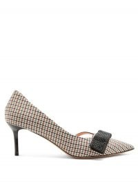 ROCHAS Stud-appliqué houndstooth pumps – checked court shoes – stiletto heel courts