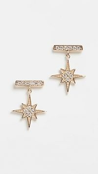 Sydney Evan Bar Studs With Starburst Dangle / stud drops / stars / diamonds / luxe small drop earrings / luxury jewellery