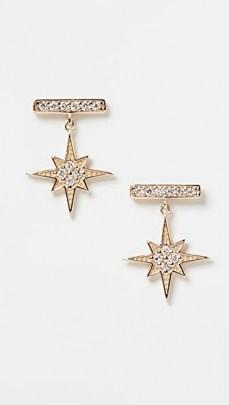 Sydney Evan Bar Studs With Starburst Dangle / stud drops / stars / diamonds / luxe small drop earrings / luxury jewellery - flipped