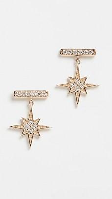 Sydney Evan Bar Studs With Starburst Dangle / stud drops / stars / diamonds / luxe small drop earrings / luxury jewellery