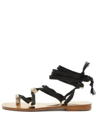 ÁLVARO Tallula wraparound metallic-leather sandals / ankle wrap flats - flipped