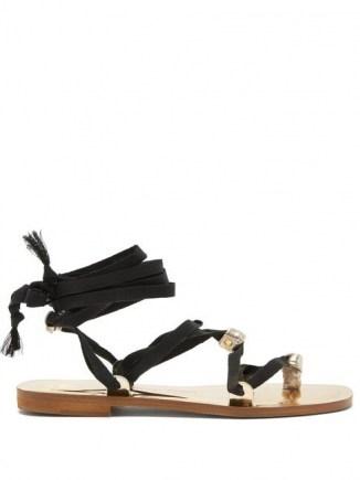 ÁLVARO Tallula wraparound metallic-leather sandals / ankle wrap flats