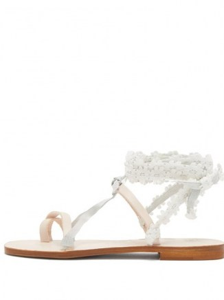ÁLVARO Tanna floral-lace wraparound white leather sandals / floral lace ankle wrap flats - flipped
