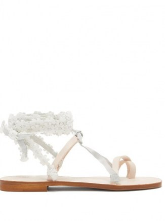 ÁLVARO Tanna floral-lace wraparound white leather sandals / floral lace ankle wrap flats
