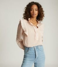 REISS TAYLOR RUFFLE DETAILED BLOUSE NUDE / feminine ruffled blouses