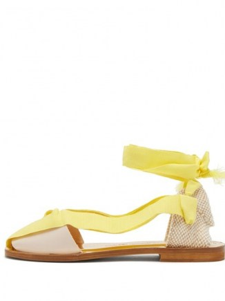 ÁLVARO Teresa wrap-tie canvas sandals in yellow - flipped
