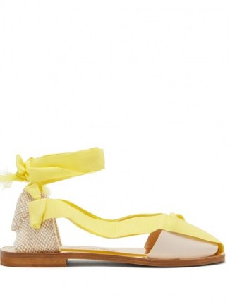 ÁLVARO Teresa wrap-tie canvas sandals in yellow