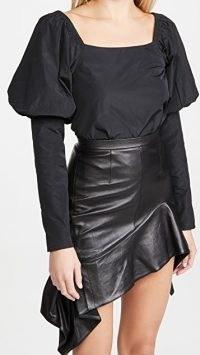 The Andamane Elsa Top Taffeta Black | puff shoulder / sleeve square neck tops