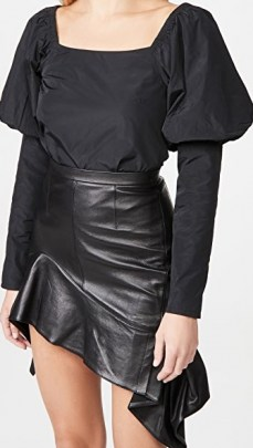The Andamane Elsa Top Taffeta Black | puff shoulder / sleeve square neck tops - flipped