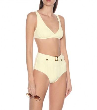 Hilary Rhoda high waist yellow bikini bottoms on Instagram stories, SOLID & STRIPED The Annie bikini bottoms, 10 August 2020   celebrity swimwear   bikinis   retro beachwear - flipped