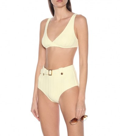Hilary Rhoda high waist yellow bikini bottoms on Instagram stories, SOLID & STRIPED The Annie bikini bottoms, 10 August 2020   celebrity swimwear   bikinis   retro beachwear