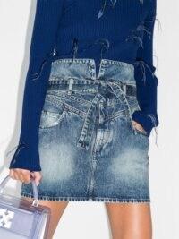 The Attico stonewash-effect denim mini skirt ~ high waisted skirts