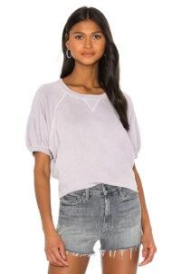 The Great Puff Sleeve Sweatshirt Top Heather Lilac | short sleeve sweatshirts