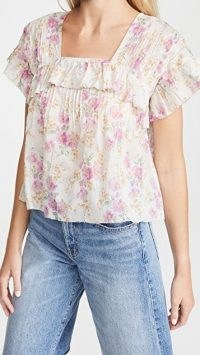 THE GREAT The Orchard Top Sweet Pea Floral ~ ruffle trim tops