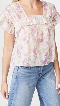 THE GREAT The Orchard Top Sweet Pea Floral ~ ruffle trim tops - flipped