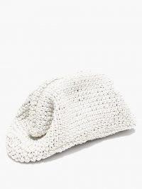 BOTTEGA VENETA The Pouch crochet-leather clutch bag ~ white textured bags