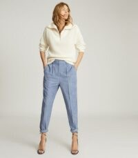 REISS THEA PLEAT FRONT CORDUROY TROUSERS BLUE ~ casual cords ~ textured pleated pants