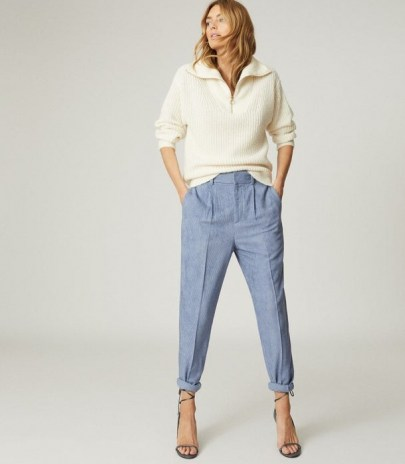 REISS THEA PLEAT FRONT CORDUROY TROUSERS BLUE ~ casual cords ~ textured pleated pants - flipped